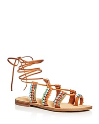Ivanka Trump Monday Embellished Lace Up Sandals Light Brown