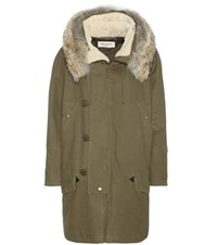 Saint Laurent Cotton Parka With Fur Lined Hood Green