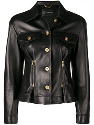 Versace Fitted Leather Jacket Black