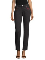 Versace Embellished Straight Leg Jeans Nro Roso