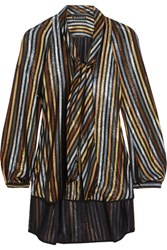 Haney Diane Pussy Bow Striped Silk Blend Lame Blouse Metallic