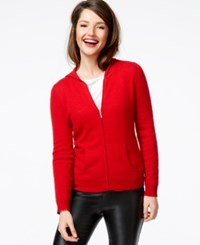 Charter Club Cashmere Zip Front Hoodie Only At Macy's Tomato