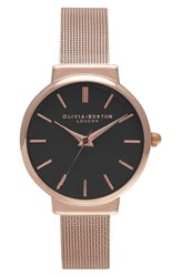 Olivia Burton Women's 'The Hackney' Mesh Strap Watch 29Mm Rose Gold Black