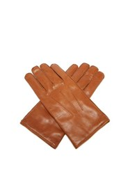 Dunhill Cashmere Lined Leather Gloves Tan