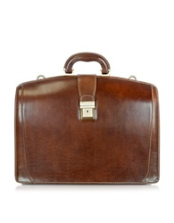 Chiarugi Brown Leather Buckled Diplomatic Briefcase