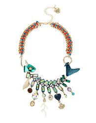 Betsey Johnson Glitter Reef Mixed Charm Fish Necklace Teal