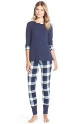 Women's Splendid Cozy Pajama Set Navy Oversized Plaid