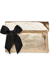 Clare V. V Bow Embellished Metallic Textured Leather Clutch Gold