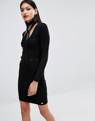 Lipsy Michelle Keegan Loves Button Up Jumper Dress With Neck Tie Black