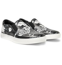 Dolce And Gabbana Floral Print Leather Slip On Sneakers Black
