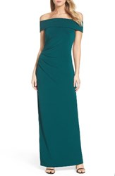 Vince Camuto Women's Off The Shoulder Gown Emerald