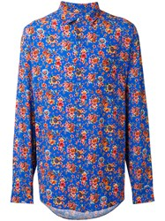 Our Legacy Floral Print Shirt Men Rayon Viscose S Blue