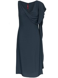 Sies Marjan Etta Marocain Silk Drape Dress Blue