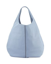 Neiman Marcus Perforated Zip Trim Hobo Bag Cornflower