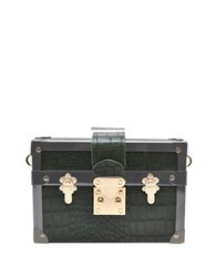 La Regale Croc Mini Luggage Clutch Heather Green