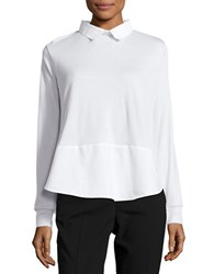 French Connection Long Sleeve Colorblock Top Saltwater White