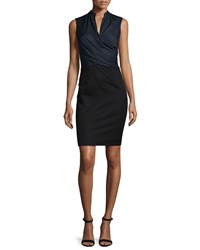 Elie Tahari Laken Sleeveless Crossover Dress Navy Yard Women's Size 8