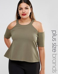 Pink Clove Cold Shoulder Jersey Top Green