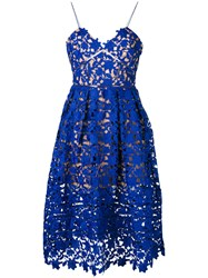 Self Portrait Lace Embroidered Dress Women Polyester Spandex Elastane 10 Blue
