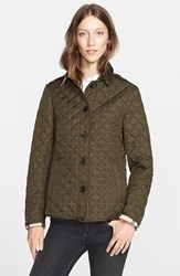Women's Burberry Brit 'Ashurst' Quilted Jacket Dark Olive