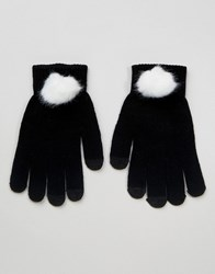 7X Faux Fur Smart Touch Gloves Black