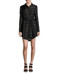 Maiyet Long Sleeve Printed Silk Shirtdress Black