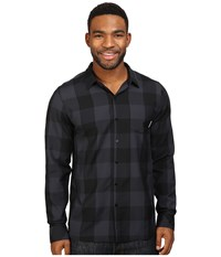 Icebreaker Departure Ii Long Sleeve Shirt Plaid Black Stealth Men's Long Sleeve Button Up