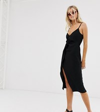 Bershka Cami Dress With Knot Front In Black Black