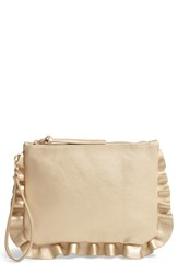 Sole Society Adelina Faux Leather Ruffle Clutch Metallic Gold