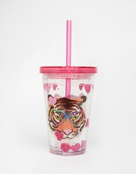 Paperchase Wild At Heart Tiger Face Cup With Straw Multi