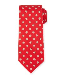 Stefano Ricci Neat Flower Tie Red