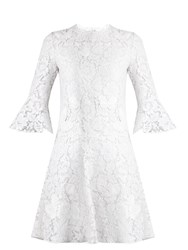 Valentino Fluted Sleeve Lace Dress White