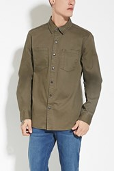 Forever 21 Two Pocket Cotton Shirt Olive