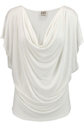 Haute Hippie Draped Modal Jersey Top Ivory