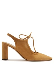 The Row Camil Suede Slingback Pumps Light Tan