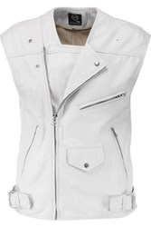 Mcq By Alexander Mcqueen Coated Cracked Leather Vest White