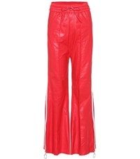 Off White Leather Trousers Red