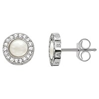 Thomas Sabo Glam And Soul Pearl And Zirconia Stud Earrings Silver