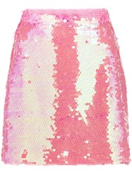Milly Sequin Embellished Mini Skirt Pink
