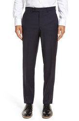 Ted Baker Men's London Livingstone'flat Front Check Wool Trousers Navy