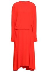 Cedric Charlier Woman Flared Crepe De Chine Midi Dress Tomato Red