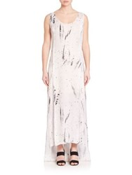 Public School Sachey Feather Print Dress Floating Feather Print White