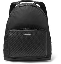Ermenegildo Zegna Pelle Tessuta Leather And Shell Backpack Black