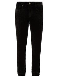 Saint Laurent Cropped Velvet Slim Leg Trousers Black