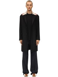Lanvin Wool Coat W Detachable Collar Black