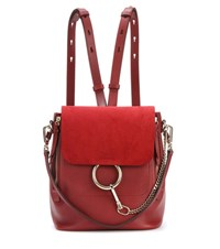 Chloe Faye Leather And Suede Backpack Red