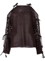 See By Chloe Crochet Knit Top Brown
