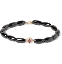 Luis Morais Spinel Gold And Ruby Bead Bracelet Black