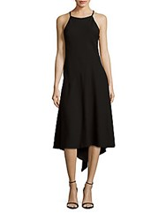 David Meister Solid Halterneck Shift Dress Black