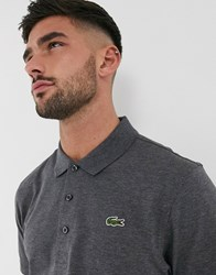 Lacoste Sport Ribbed Texture Polo In Charcoal Grey